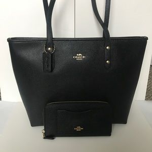 ❤️🌷coach tote set/shoulder bag & wallet/black/zip